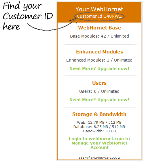 WebHornet Customer ID