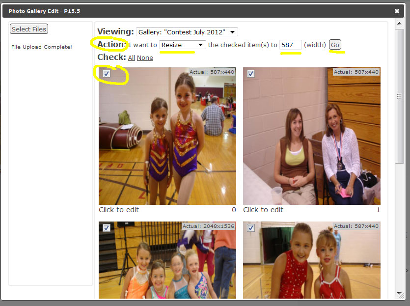 Website Photo Gallery Resize Photos