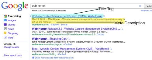 Below google screen capture shows title tag and meta description tags